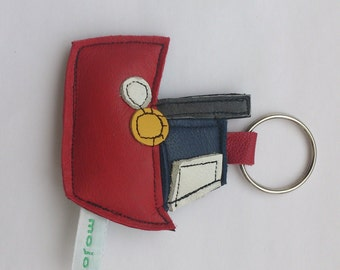 Tug Boat recycled leather keychain.... UK FREE SHIPPING