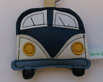 Handmade recycled upcycled vintage blue leather campervan camping applique keyring keychain FREE UK SHIPPING