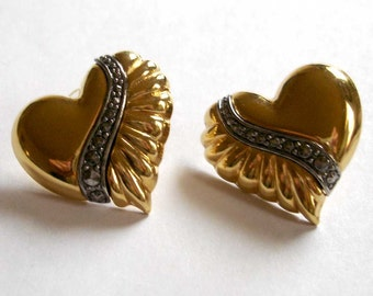 vintage ruched gold heart with marcasite sash pierced earrings
