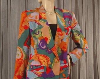 Vintage Silk Jacket Size 8 b42