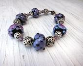 Purple Lampwork Sterling Bracelet