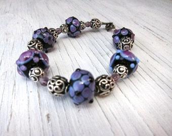 Beaded Bracelet, Purple Murano Glass Lampwork, Sterling Bracelet