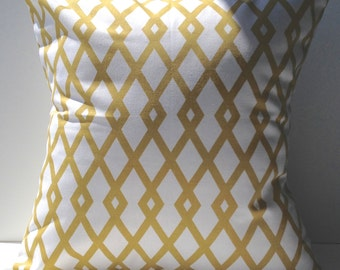 New 18x18 inch Designer Handmade Pillow Cases in mustard and white trellis style pattern