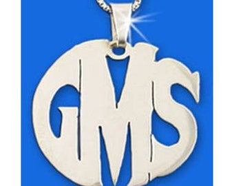 """Sterling Silver Monogram Necklace - choose from 4 styles (1"""" - 2.5cm tall)"""