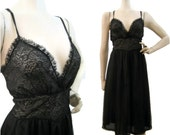 50s Night Gown Vintage Sheer Plunging Bust Nylon Chiffon M L