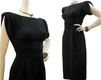 60s Dress Vintage Black Crepe Wiggle Cocktail Gathered Sleeves LBD S