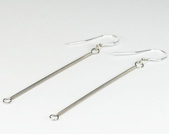 Guitar String Jewelry- Silver Upcycled Guitar String Earrings, Guitar Player Gift, Music Gift, Modern Minimal Earrings, Minimalist Earrings