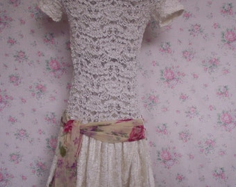T Shirt dress..lace.velvet..cream..wedding..bridesmaid
