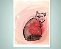 Trippy Exotic Short Hair Cat 11x14 Giclee Illustration Print, Smooshy Face, Stars, Catnip