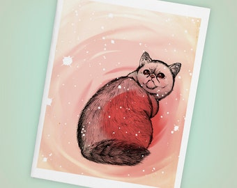 Trippy Exotic Short Hair Cat, Blank Greeting Card, Stars, Pink - Size A2