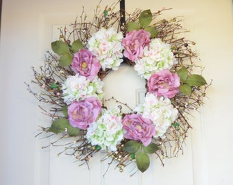 Pink mauve white Summer wreath - Hydrangea and Roses - Year round wreath - Front Door Decor