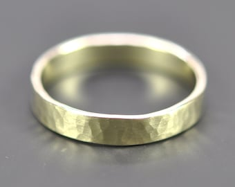 14K GREEN GOLD Ring, 4mm Wide Hammered Wedding Band or Fashion Ring, Unisex, Sea Babe Jewelry