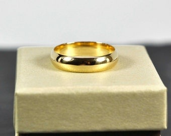 18K Yellow Gold Mens Wedding Band, Half Round Classic Shape 5 x 1.5mm, Sea Babe Jewelry