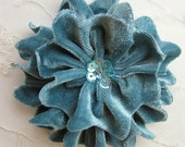 TEAL Velvet Ribbon Rose Fabric Sequin Beaded Flower Applique Hat Corsage Pin Baby Pageant Bridal Hair Accessory Applique