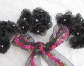 18 Chic Black Organza Ribbon Wired Rose Flower w rhinestone Christmas Holiday Bridal Wedding Favor Bow Hair Accessory Applique