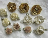 12 pc ANTIQUE GOLD Lame Ribbon Fabric Flower Applique Holiday Shabby Chic Baby Doll Carnation Cabbage Rose Bow