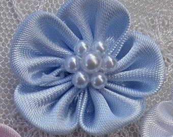 12pc Beaded Fabric Flower Applique Baby Doll BLUE Satin Rbbon w Pearl Hair Bow