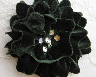 HUNTER GREEN Velvet Ribbon Rose Fabric Sequin Beaded Flower Applique Hat Corsage Pin Baby Pageant Bridal Hair Accessory Applique
