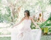 Blush Pink Wedding Gown - As seen in Style Me Pretty - One of a Kind Unique Piece