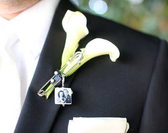 Boutonniere Pin / Corsage Pin Photo Charm - Small Memorial Charm - BPP3