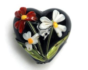 Maria's Bouquet Heart Focal Bead - Handmade Glass Lampwork Bead 11833305