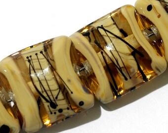 Seven Transparent Brown w/Beige Strips Pillow Beads -11106104-Handmade Lampwork Glass