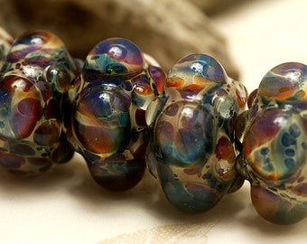 Handmade Glass Lampwork Bead Set - Six Blue Free Style Rondelle Beads 10602521