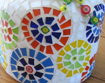 Multi Color Stained Glass and Millefiori Mosaic Jar Candle Holder