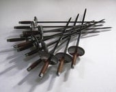 12 BBQ Rosewood Mid Century Modern Stainless Steel Skewers Shishkabob Soulvaki Made in Japan for Kalian NYC 9246