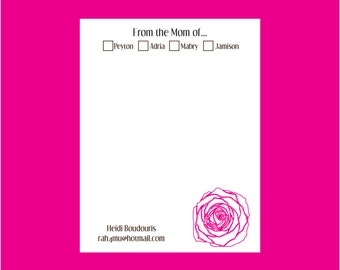 Rose personalized Notepad, from the mom of notepad, flower notepad, teacher notepad