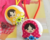 Handmade Kawaii Country White Pink Yellow Russian Matryoshka Doll Fabric Covered Button Ponytail Holder Hair Elastic Ties