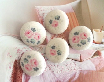 Handmade Rustic Country Off White Cream Pink Rose Flower Floral Tilda Fabric Covered Buttons Fridge Magnets, Flat Backs, 1 Inch 5's