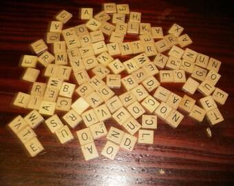 Vintage Scrabble Tile Lot 100 Wood Scrabble Tiles Wooden Letters