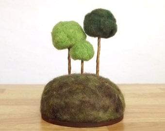 Rounded Trees in Greens - Miniature Forest Sculpture Pincushion - Made To Order Home Decor Nature Scene