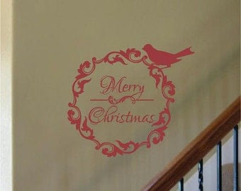 Wreath Merry Christmas with Bird Decoration Vinyl Wall Letter Decal