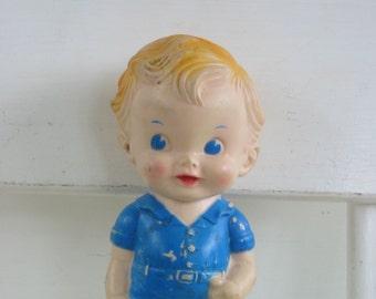 Vintage Rubber Doll Boy Toy Blue Kitschy Sun Rubber Company