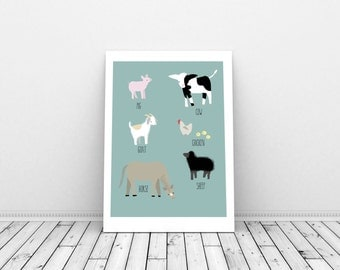 Farm... Goat, Horse, Cow, Pig, Chicken and Sheep! Giclee Print of Illustration (A3 size - approx 11.5 x 16.5 inches).