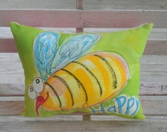Bee Happy Handpainted Pillow Ready to Ship