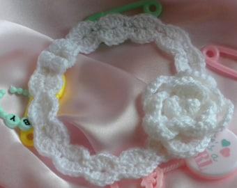 Crochet Baby Headband, Baby Girl Headband, Baby Headband with Rose Flower. White Baby Headband, Lacy Baby Headband, Photo Prop Headband