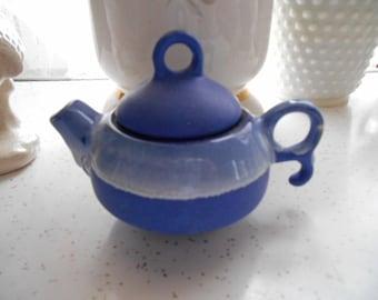 Vintage Pottery  Blue Small Oriental Tea Pot