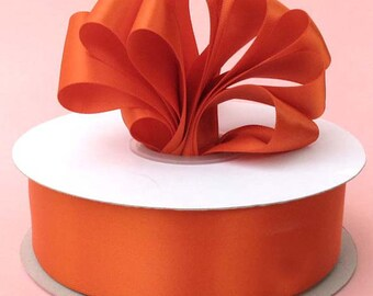 1/4 inch x 100 yds Single Face Satin Ribbon --ORANGE