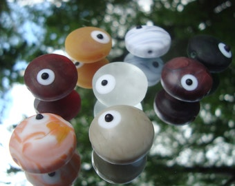 Handmade Etched Glass Round Disk Beads (Set of eight, multi-colored)
