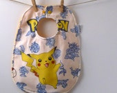Pokemon Baby Gift - Pikachu Baby Bib made from Vintage Bed Sheets