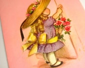 Sweet Hello Birthday Greeting Card, Vintage Paper Ephemera, Glittered Big Bonnet, Old Card, Bubblegum Pink, Purple, Rust Craft  (121-13)