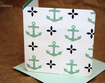 Blank Mini Card Set of 10, Cute Anchors with Contrasting Cabana Stripe on the Inside, Mist Envelopes, mad4plaid