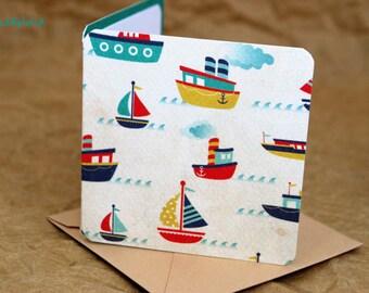 Blank Mini Card Set of 10, Mini Boat Design with Contrasting Aqua on the Inside, Light Sand Kraft Envelopes, mad4plaid