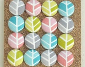 Custom. Reserved. Herringbone.  . . 8 Fabric Push Pins. Assorted Colors.