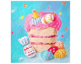 Original Mini Painting * EASTER CAKE * Decorated Eggs And Chick * Small Art Format