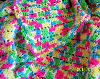 Hand Crochet Afghan Multi Color Yarn Close Stitch Pattern