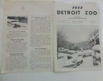 Vintage Your Detroit Zoo Zoological Park Commission News Letter March 1949